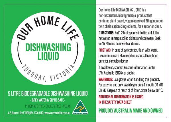 Our Home Life Dishwashing Liquid 25l Drum Label