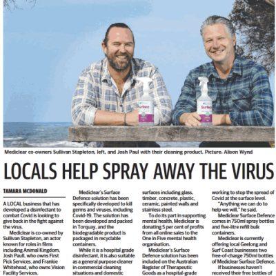 MediClear newspaper clip - Locals help spray away the virus